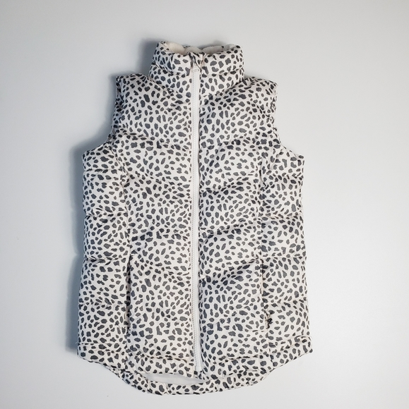Gap Kids Girls Puffer Vest Snow Leopard